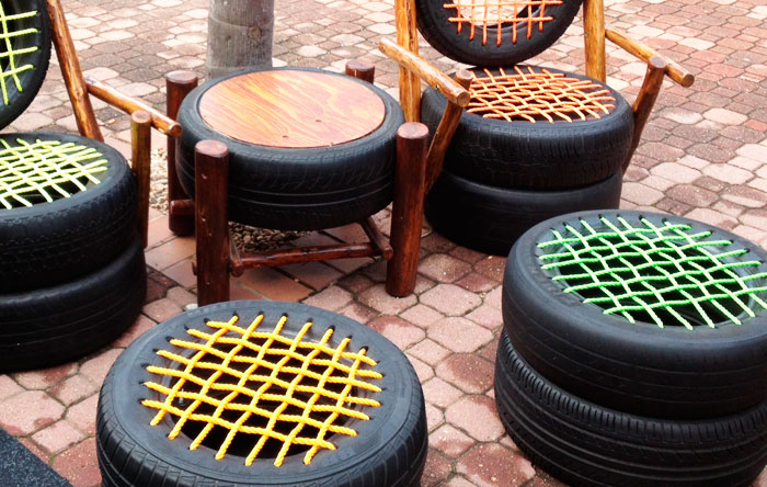 Flot genbrug af gamle bildæk